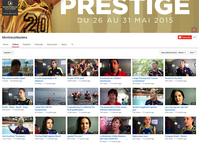 Montreux Volleymasters YouTube channel